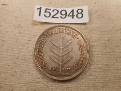 1927 Palestine 100 Mills Nice Collector Grade Album Coin Cleaned - 152948