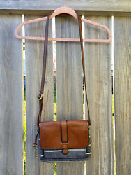Fossil Kinley Small Crossbody Purse Cognac Brown Leather Charcoal Striped Bag $45.99