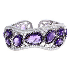 Qvc Sold Out Judith Ripka 24.00ct Sterling Silver Amethyst Hinged Cuff 1900