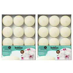 Ivory Unscented Floating Candles 24 Pack Dripless 3 Inch for Home Wedding Decor