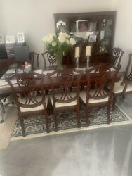 Antique Dining Table 6 Chairs + 2 Carvers + Display Cabinet + Hifi Cabinet