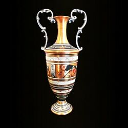 """Vintage Hand Painted Decorated Ram Copper Urn Or Vase 8"""" Made In Greece"""
