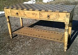 Vintage Folk Art Mustard And Black Kitchen Island Bakers Table Checkerboard Top