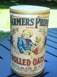 Vintage Farmer's Pride Rolled Oats Box / Container - Hulman And Co Terre Haute Ind