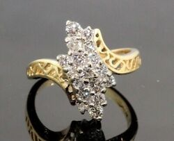 Womens Hds Fr Co Deco 14k Yellow Gold Diamond Cluster Ring .72 Ct 20381b