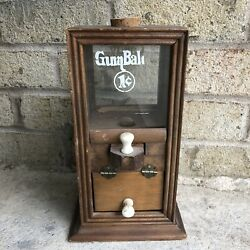 """Vintage Antique 1910 Wooden And Glass Small Gum Ball Machine Early 1900s Candy 11"""""""