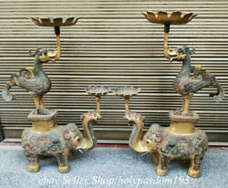 24.8 Old Chinese Bronze Ware Gilt Painting Elephant Crane Candle Stick Statue
