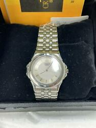 Seiko 8j81-6a20 Stainless Steel 18kt White Quartz Mens Watch Authentic Working