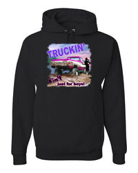 Truckin Ain't Just For Boys Pickup And Trucks Unisex Graphic Hooded Sweatshirt