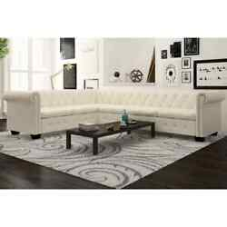Us Home Room Chesterfield Corner Sofa 5/6-seater Faux Leather Couch Furniture