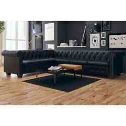 Chesterfield Corner Sofa 5/6-seater Faux Leather Couch Multi Colors Black