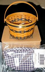 New 1998 J.w. Miniature Longaberger Apple Basket With Protector And Liner