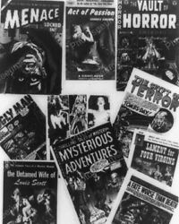 Horror Covers On Comic Books 1954 Vintage 8x10 Reprint Of Old Photo
