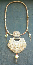 Jade Antique Asian Chinese Silver Turquoise Monk Necklace Qing China