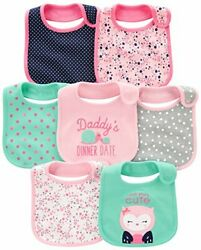 Baby Girls' 7-pack Teething Bibs One Size Pink/mint