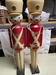 """2 Vintage 1950's Lighted Christmas Nut Cracker Toy Soldier Blow Mold Hard 32"""""""