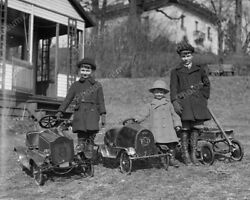 Victorian Children W Antique Pedal Cars 8x10 Reprint Of Old Photo