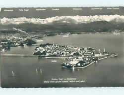 Old Rppc Aerial View Of Town And Area Lindau Germany Hm1776