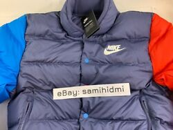 Nike Sportswear Puffer Bomber Jacket 928819-557 Size S Small Red Blue New