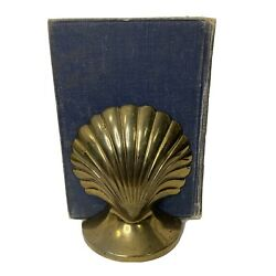 Vintage Solid Brass Clam Sea Shell Bookends 5.5 Tall Mcm Nautical Beach Decor