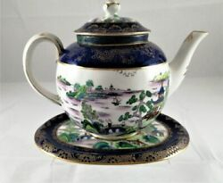 Crown Staffordshire China - Teapot, With Stand Antique 1900s Willow