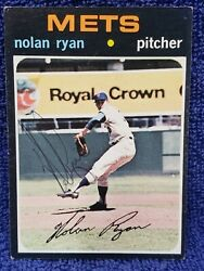 Hall Of Fame Nolan Ryan 1971 Topps Hand Signed Autographed Card 513 Ny Mets