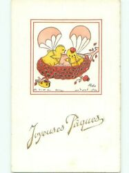 Foreign Old Postcard Signed Humanized Chicks Using Parachutes At Easter Ac3231