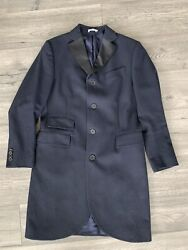 Gant Rugger The Cut Away Mens Navy Blue Size 38 Wool Chesterfield Overcoat Coat