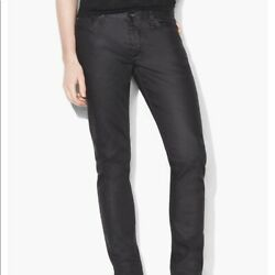 Bnwt John Varvatos Charcoal Coated Chelsea Jeans Size 33 Msrp 298