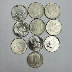 1964 Kennedy Silver Half Dollars .50c Lot Of 10 Coins 5 Face Value 90 Silver