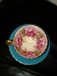 Aynsley England Teal Blue Tea Cup And Saucer With Large Pink Cabbage Roses