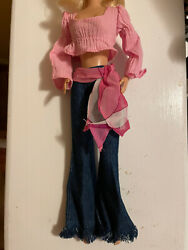 Britney Spears Hippie 70s Pepsi Barbie Doll Outfit Pink Peasant Top Flare Jeans