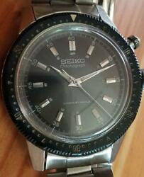 Seiko Crown Vintage Chronograph 21 Jewels Black Mens Watch Authentic Working