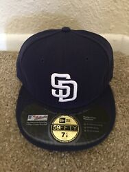 New Era San Diego Padres Size 7 1/8 5950 Fitted On Field Mlb Usa Cap Authentic