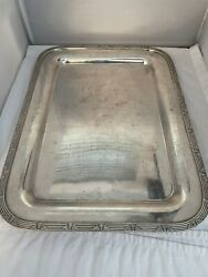 Vintage The Stevens Hotel Chicago Antique R. Wallace Silver Soldered Tray 16''