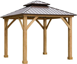 Outsunny 10and039 X 10and039 Hardtop Gazebo Canopy Patio Shelter Outdoor With Solid Wood F