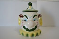 Vintage Clown Cookie Jar Pottery Circus Striped Kitchen Home Decor Collectible