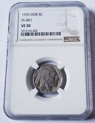 1935 Ddr Fs-801 Buffalo Nickel Ngc Vf20 Double Die Reverse Nice Coin