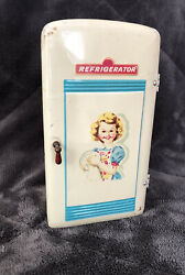 """Vintage 1950s Toy Refrigerator Tin Modern Toys Japan Litho Graphic Doll Size 7"""""""