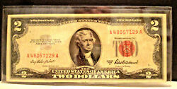 1953a Two Dollar Note Red Seal 2 Bill Us Currency Old Money - Priest/anderson