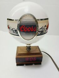 Vintage Adolph Coors 10 Lighted Globe And Led Clock Beer Bar Sign Rare 1980's