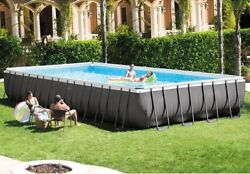 Intex - 32' X 16' X 52 Ultra Rectangular Pool Set With Ladder, Pump And Cover