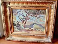Antique Oil Painting On Board Charles Lessar Landscape Patriarch Oak 24x20