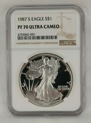 1987 S American Eagle S1 Silver Proof Dollar Coin Pf 70 Ultra Cameo Ngc