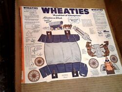 Vintage Wheaties Cereal Box Back Toy Covered Wagon Western Theme 1940's