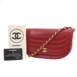 Cc Logos Shoulder Bag Red Lambskin Leather Authentic Qq786 O