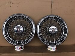 1981-1987 Oldsmobile Olds Cutlass 14 Inch Wire Spoke Hubcap Wheel Cover Pair