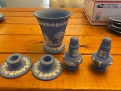 Authentic Wedgwood Jasperware Pale Blue Lot- Mint Condition. No Chips/scratches.