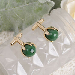 Vintage Sarah Coventry Green Art Glass Marble Ball Gold Tone Cuff Links