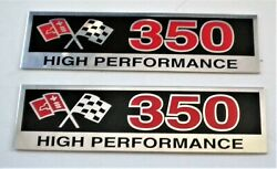 2 Small Block Chevy Sbc 350 High Performance Metal Plaques Valve Cover Etc Nice